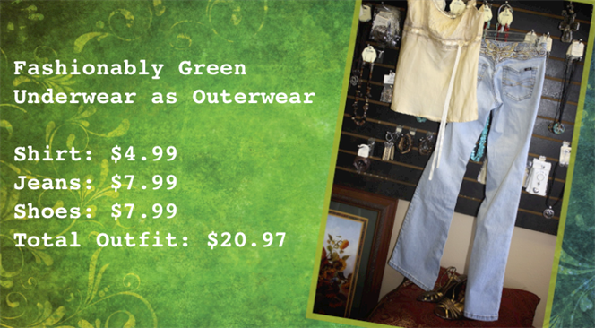 Photo of fashionably green underwear as outerwear
