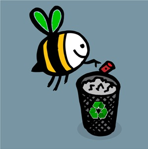 Photo of a cartoon bee and waste basket