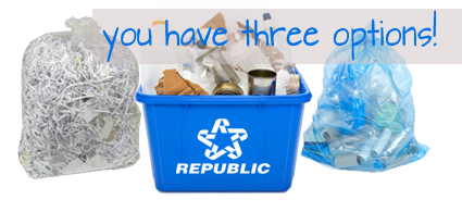 Photo of recycling bins and bags