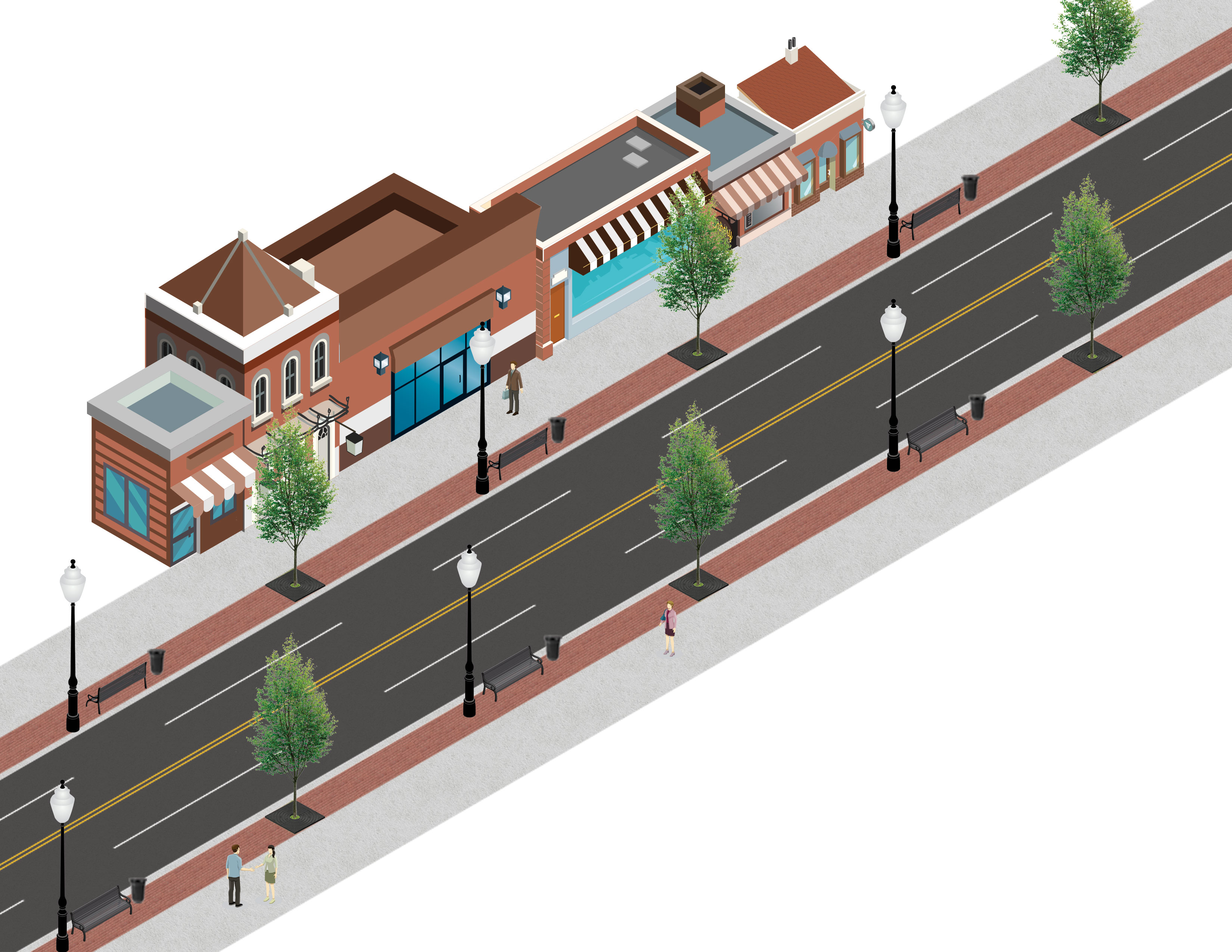 Main Street Enhanced Streetscape Rendering