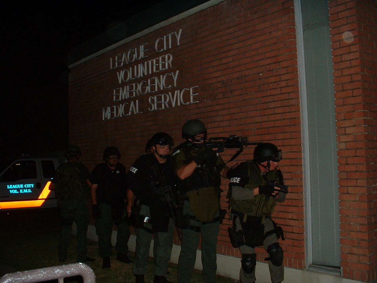 Photo of Tactical Support Medics at night